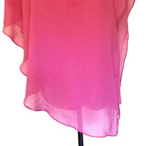 Cache Tops - Cache Pink V-neck Asymmetrical Layered Top Large